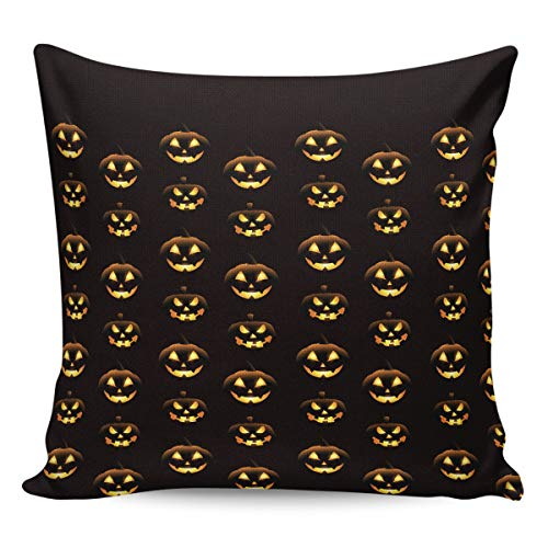 YOKOU Burlap Throw Pillow Case Halloween Hand-Painted Pumpkin Grimace Square Sham Cushion Covers Pillow Protectors Home Decor for Car,Couch,Bed,Office, 24x24 inch