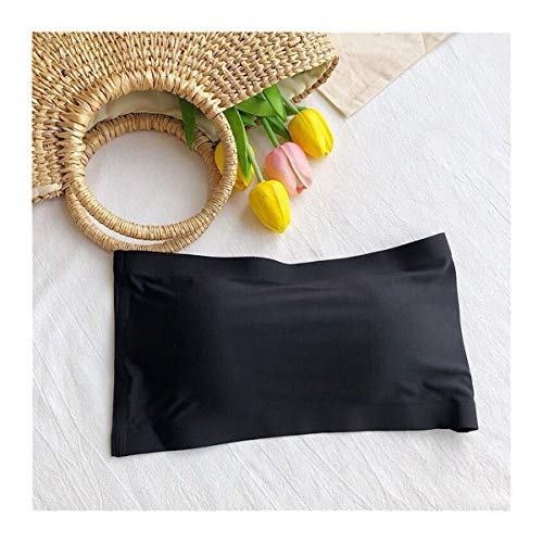 JINGGEGE Blusa de tubo sin costuras de una pieza, sujetador invisible para mujer, sin tirantes, bandeau transpirable envuelto en el pecho (color: negro)