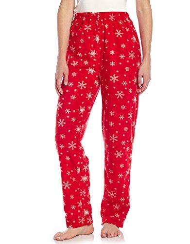 Women Fleece Sleep Pants Snowflake Large