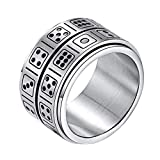 INRENG Men's Stainless Steel 14mm Wide Spinner Ring Band Creative Dice Pattern Design Double Layers Size 9