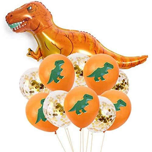 DIWULI, Juego de 11 globos de dinosaurio con forma de dinosaurio, 1 globo gigantesco XXL de dinosaurio + 10 globos de látex (Dino/confeti) para cumpleaños, cumpleaños infantil, fiesta, decoración