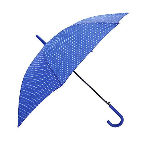 Severyn Paraguas de paseo con estampado de lunares y apertura automática para mujer (Talla Única) (Azul)