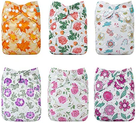 ALVABABY Baby Cloth Diapers One Size Adjustable Washable Reusable for Baby Girls and Boys 6 Pack with 12 Inserts