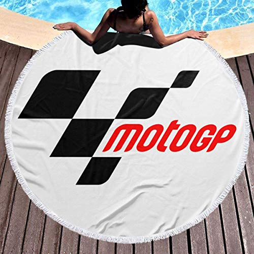 Leo-Shop Toalla de Playa Redonda Tapiz de Picnic Grande Cubierta de Mesa de poliéster Roundie Yoga Mat 59 '(Moto GP)