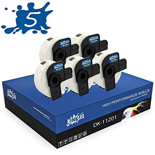 RINKLEE DK-11201 Etiketten kompatibel für Brother P-Touch QL-500 QL-550 QL-560 QL-570 QL-580 QL-700 QL-710W QL-720NW QL-800 QL-810W QL-820NWB QL-1060N QL-1100 QL-1110NWB | 29 x 90 mm | 5 Rollen
