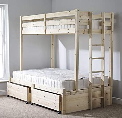 Strictly Beds and Bunks - Double + Single Bunk Bed with Storage Drawers, 4ft 6 Double + 2ft 6 Single