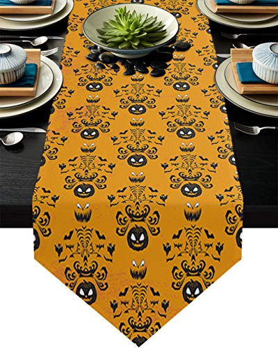Cotton Linen Burlap Table Runner Orange Halloween Party Home Decorative Table Cloth Cover for Kitchen Dining Banquet Party/Parties Tabletop Picnic Dinner Pumpkin Ghost Bats 18x72in
