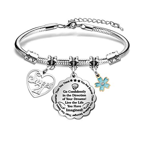 BHXRODE Inspiration Bangle Birthday Bracelet Sweet 13th 16th 18th 21th Birth Day Jewelry 30s 50s 60s You Are Braver Smarter Stronger (21th)