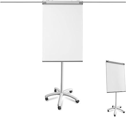Flipchart Piranha | Rollenfuß | beschreibbar, abwischbar, magnetisch | variable Papierhalterung | Whiteboard mit Ständer | höhenverstellbar, einfach zu transportieren