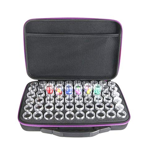 60 Bottles Diamond Painting Storage Case, EVA 60 Grids DIY Nail Art Craft Storage Earrings Beads Necklace Display Storage Box Jewelry Organizer Case (Purple)