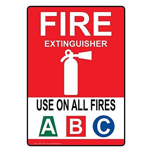 Ditooms aluminium brandblusser gebruiken op alle branden A B C teken, 10 x 7 in. met Engelse tekst en symbool, wit