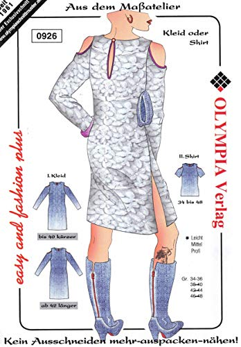 Olympia Creativ-Schnittmuster Kleid oder Shirt Größe 34-36 (0926)