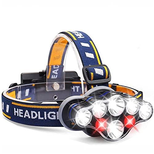 JSJJQAZ LED faro 8 LED 8 modos faro USB recargable impermeable cabeza lámpara para camping Gear