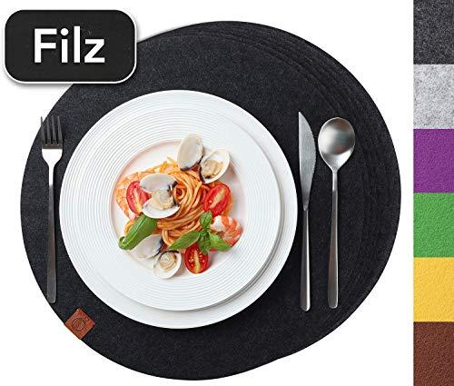 Sidorenko Edles Platzset rund aus Filz 6er Set anthrazit - Tischset Abwischbar Ø 38 cm Filzuntersetzer - Waschbare Tischuntersetzer Platzdeckchen - grau Untersetzer Filzmatte