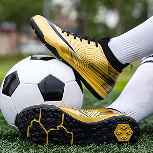 XRDSHY Zapatos de Fútbol Hombre Spike Aire Libre Profesionales Atletismo Training Botas de Fútbol Ligero Tacos Futbol Zapatos de Deporte,Gold-38 EU