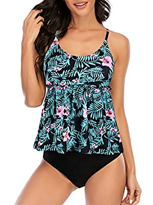 Century Star Women's Bathing Suit Plus Size Swimsuits for Women Tummy Control High Waisted Swimming Suit Two Piece Tankini Green Pink Floral 12-14