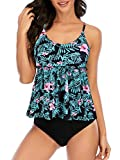 Century Star Swimsuits for Women Floral Print Two-Piece Swimsuits Bathing Suits Womens Tankini Tops With Boyshorts Swimwear Green Pink Floral 10-12