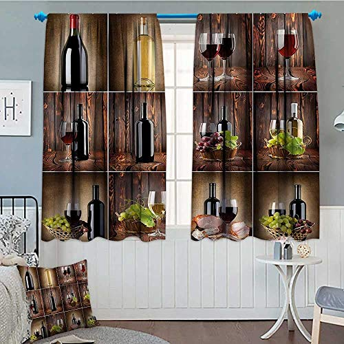 """SeptSonne Wine Window Curtain Drape Wine Themed Collage on Wooden Backdrop with Grapes and Meat Rustic Country Drink Decorative Curtains for Living Room 52""""x63"""" Brown Black Red"""
