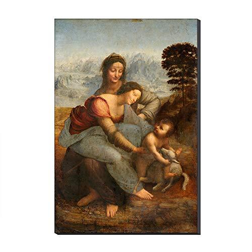Five-Seller La Virgen Y El Niño con Santa Ana por Leonardo Da Vinci Lienzo Cuadros Famosos Reproducción De Arte Impreso En Lienzo Arte De Pared Arte para Decoraciones para El Hogar (50_x_70_cm)