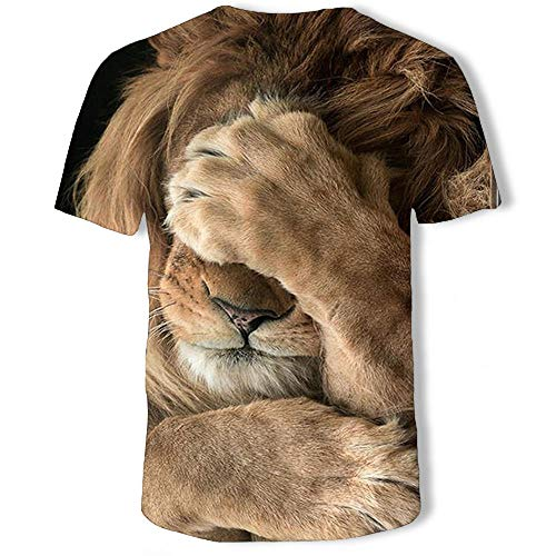 Herren T Shirt Modisches Löwen-3D-Bedrucktes Kurzärmeliges Rundhals-T-Shirt-C_XXXL