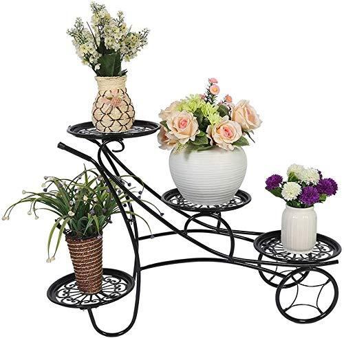 Macetero alto soporte plantas Planta de puestos de flores de interior Soporte con 4 Niveles Balcón de hierro forjado for suelo de planta de la exhibición del soporte Jardín Terraza Flor Simple rack es