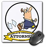 3dRose mp_102935_1 8 x 8-Inch Funny Worlds Greatest Attorney Iii Occupation Job Cartoon Mouse Pad