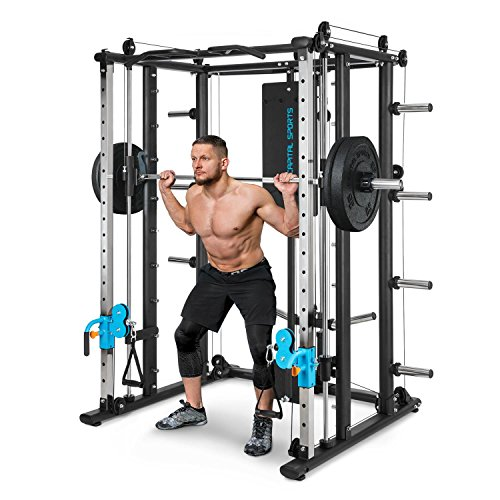 Capital Sports Pro Amaze Smith Machine - Powerrack, Multipresse, 2 Safety-Spotter, 16-Fach höhenverstellbar, Robustes Stahlrohr, inkl. Klimmzugstange, ca. 184 x 210 x 170 cm (BxHxT), schwarz