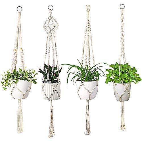 WOZON Makramee Blumenampel Set of 4 (41 Zoll, 4 Beine) Baumwollseil Hängeampel Blumentopf Pflanzen Halter Aufhänger für Innen Außen Decken Balkone Wanddekoration