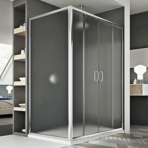 Idralite Replay Duo 2 Türen Duschkabine 150x90 cm H185 Strukturglas