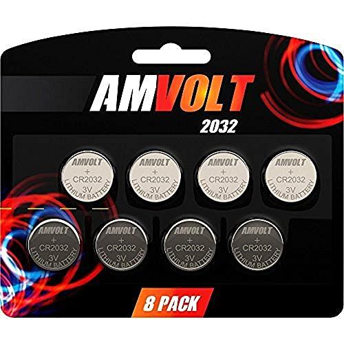AmVolt CR2032 batería 220mAh 3 voltios, batería estilo botón de litio, 8 unidades, fecha de caducidad 2020.