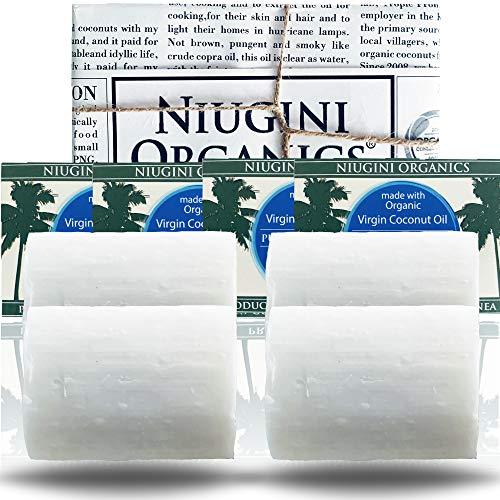 4 x Die reinste Kokosnuss-Seife der Welt mit biologischem nativem Kokosöl für empfindliche Haut, 100g (ohne Duft)