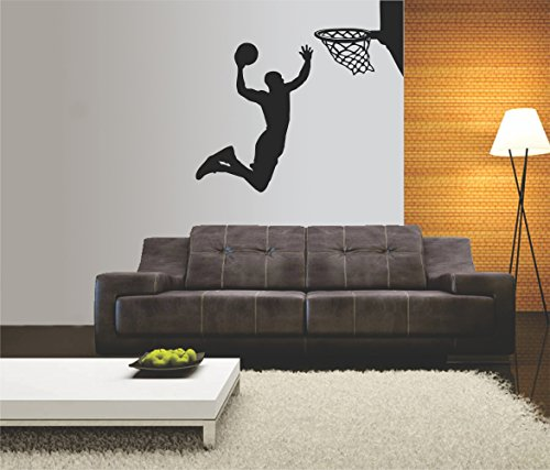 t-shirteria Adesivo murale - Wall Sticker - Basket - Basketball - NBA - Pallacanestro - Slam Dunk - Dimensioni 45x55 cm