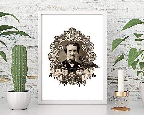 Kunstdruck Din A4 ungerahmt Edgar Allan Poe Portrait Rabe Nevermore Foto Autor Schriftsteller Horror Gothic Poster Bild