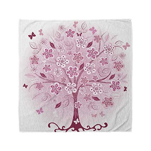 Lunarable Unisex Bandana, Nature Bonsai Tree Flowers Leaves, Burgundy Pink