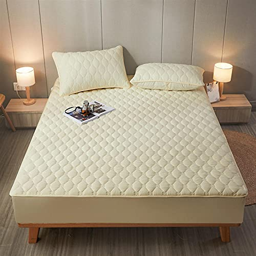 FJMLAY AjustableSábana Bajera,Sábanas Acolchadas de algodón, Almohadillas Protectoras Antideslizantes para Apartamentos de Dormitorio-Yellow_2_150x200cm