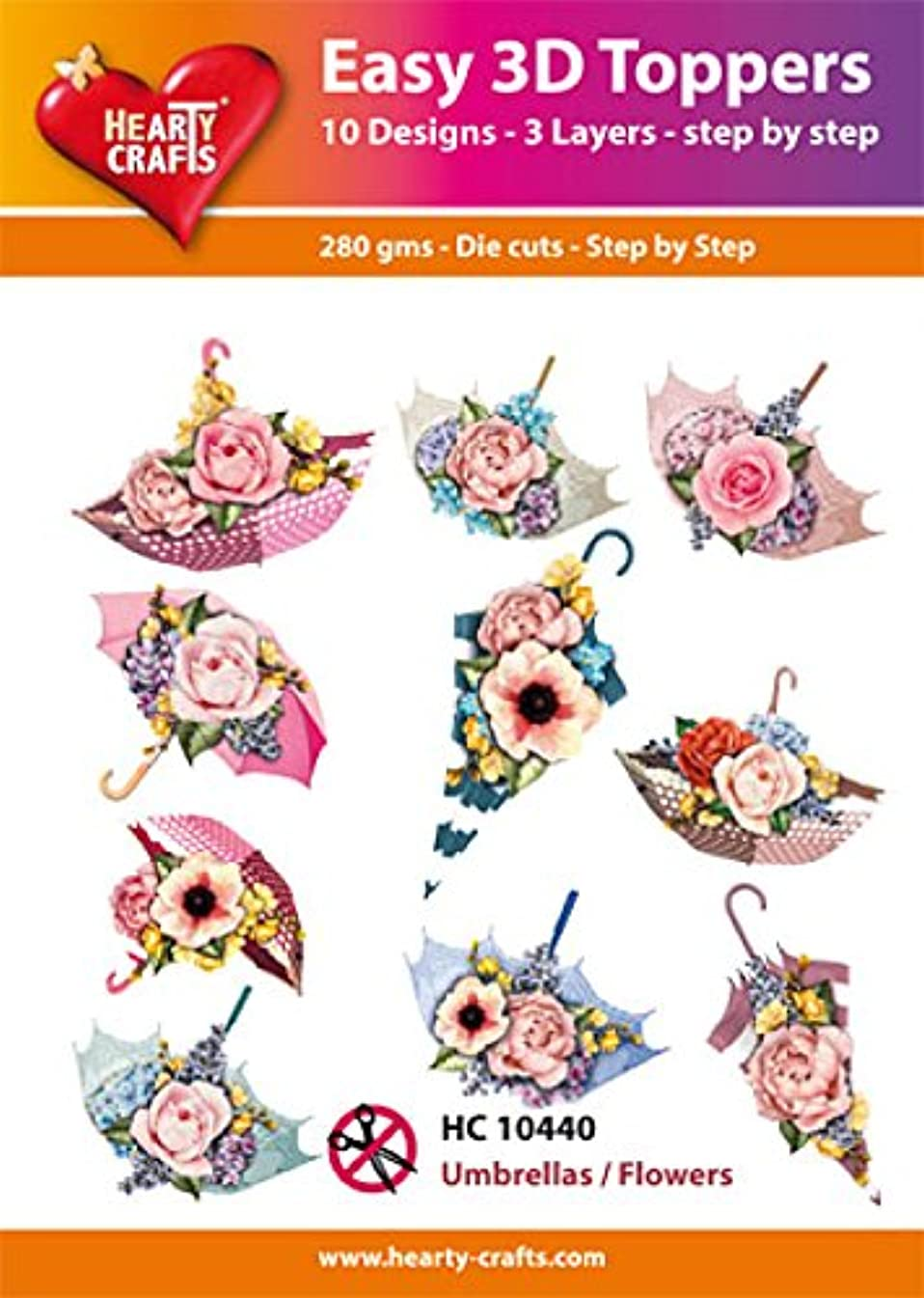 Easy 3D Toppers Umbrellas/Flowers, Paper Multicoloured, 17 x 10 x 1 cm