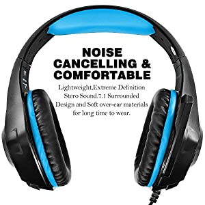 AFUNTA GM-1 New Xbox One s PS4 Pro Headphones for PC Tablet Cellphone, Stereo LED Backlit Gaming Headset with Mic-Blue