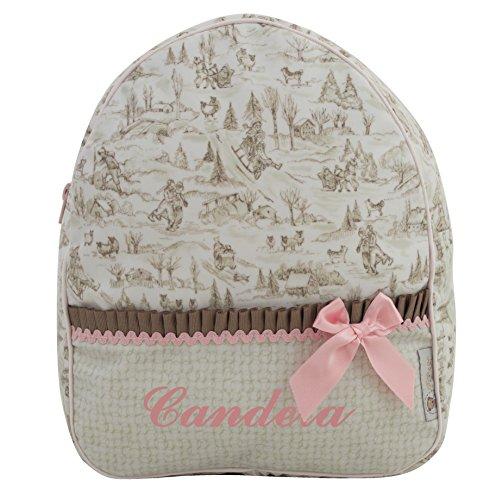 Der Rucksack, der Schulrazen, der Schultasche oder Kindergartentasche mit der Name personalisiert. Der Modell: Aroa (Kamel/Rosa)