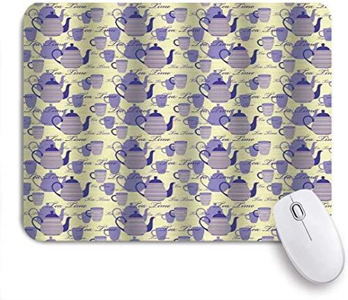 Mobeiti Gaming Mouse Pad, gestreifte Teekannen Tassen Silhouetten klassische Kalligraphie rutschfeste Gummi Backing Mousepad für Notebooks Computer Mausmatten