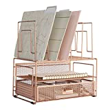 Blu Monaco Workspace Rose Gold Desk Organizers and Storage Accessories Desktop Rack File Organizer with File sorters and Drawer for Office Supplies, Paper, Device and Folder