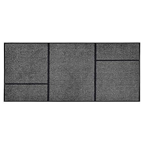 casa pura Moderne Fußmatte GEO | Zeitloses Design mit geometrischem Muster | rutschfeste Schmutzfangmatte mit Bester Reinigungswirkung | Türvorleger in edlem Anthrazit | 3 Größen (85x200 cm)