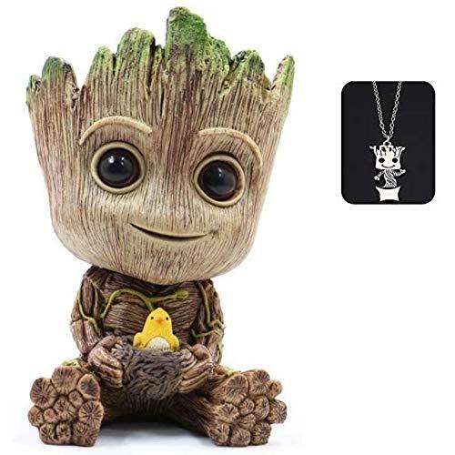 Baby Groot Maceta, maceta para macetas suculentas Tree Man, maceta para plantas verdes con orificio de drenaje, portalápices, adorno de oficina, maceta para regalo de cumpleaños, Navidad (Grande)