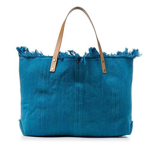 FIRENZE ARTEGIANI. Vanna Borsa shopper da donna. Tessuto cotone bouclé pelle sintetica_PU 50 x 10 x 38 cm. Colore: blu.