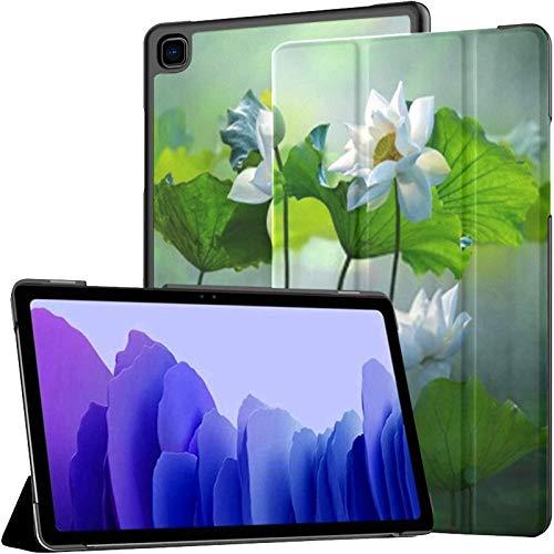 Funda para Samsung Galaxy Tab A7 Tableta de 10,4 Pulgadas 2020 (sm-t500 / t505 / t507), Hermosa Flor de Loto Blanca, Plantas de Lago, Soporte de ángulo múltiple con activación/Reposo automático