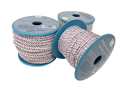 Seil auf Rolle - 3 mm x 100 m weiß/blau/rot Polypropylenseil PP, Festmacherleine, Allzweckseil, Strick, Leine, Flechtleine - Bruchlast: 80 kg - 100 m - Rolle