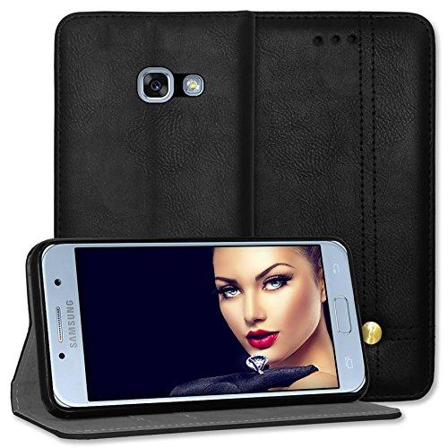 mtb more energy® Schutz-Tasche Prestige für Samsung Galaxy A5 2017 (SM-A520, 5.2'') - schwarz - Kunstleder - Bookstyle Wallet Cover Hülle Hülle