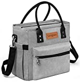 Sac Isotherme Repas, longzon 10L Grande capacité Isothermal Lunch Box Isotherme Bag Boite Repas,Sac Isotherme Bureau, Insulated Cooler Bag Sac à Lunch Office Meal pour Homme,Femme,Enfant,Bebe-Gris