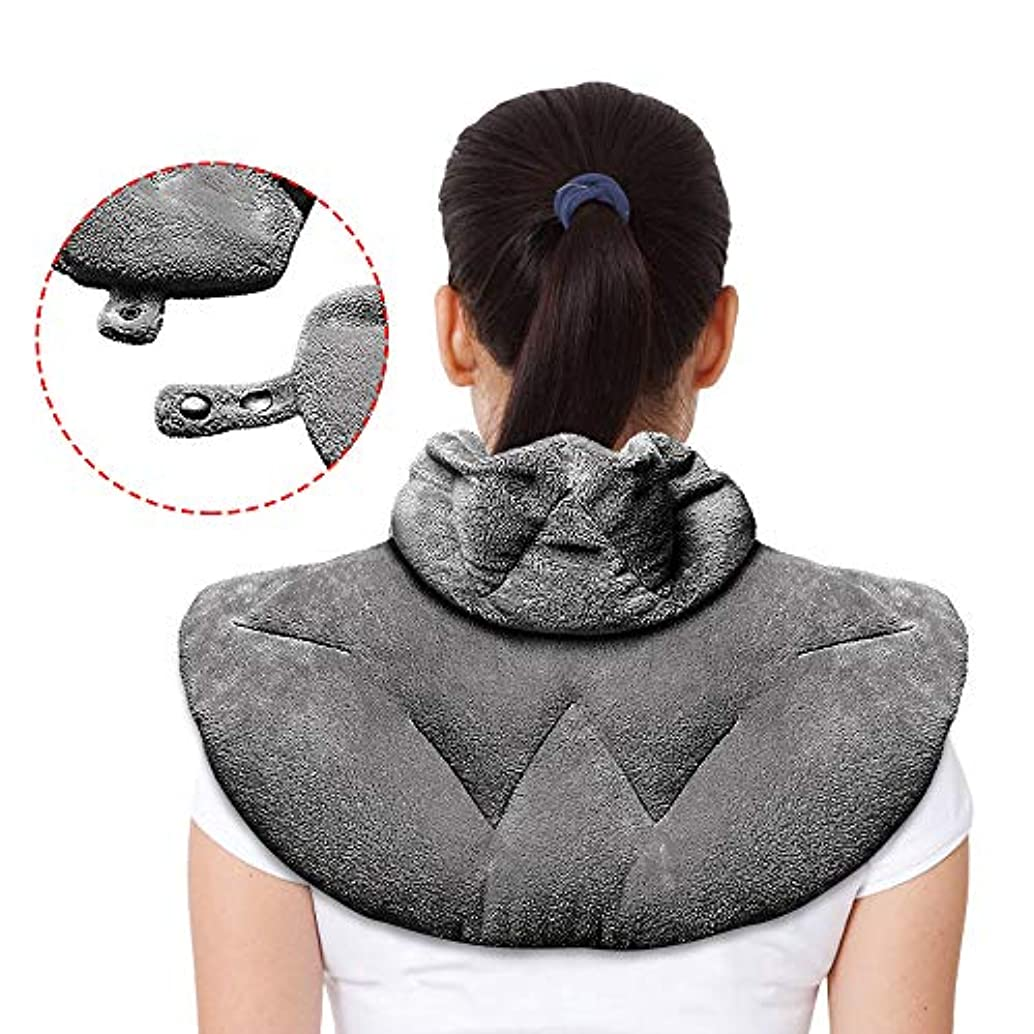 Microwavable Heating Pad, Neck Wrap Hot/Cold, Natural Herbal Aromatherapy, Ultra Soft Flannel, 2 Buttons, Dry/Moist Pain Relief for Back, Joint, Cramps, Arthritis, Sports Injuries, 23 x 11 inch
