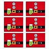 COSYLAND Tovagliette Natalizie da Tavola, 6 Pezzi Tovagliette Rosse da Pranzo Natale Antiscivolo, con Una Tasca per Coltello Cucchiaio Forchetta, Decorazione Natale per Tavola, 33 x 45 cm