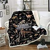 ANHHWW Manta de franela 100x160cm Negro, animales, dinosaurios, monstruos Cama de bebé manta de franela para carrito Necesario al mirar televisión
